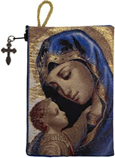 Intercession Hand-Woven, Lined Madonna and Child Rosary Pouch, Made in Turkey with Premium Metallic Thread (Blue - Large)