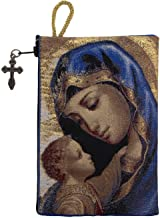 Intercession Hand-Woven, Lined Madonna and Child Rosary Pouch, Made in Turkey with Premium Metallic Thread (Red - Large)