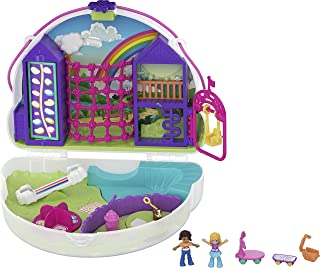 Polly Pocket Rainbow Dream Wearable Purse Compact with 8 Fun Features, Micro Polly and Shani Dolls, 2 Accessories and Stic...