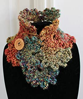 Beautiful Variegated Fall Colors Queen Anne's Lace Handmade Crochet Button Neck Warmer Scarf Cowl
