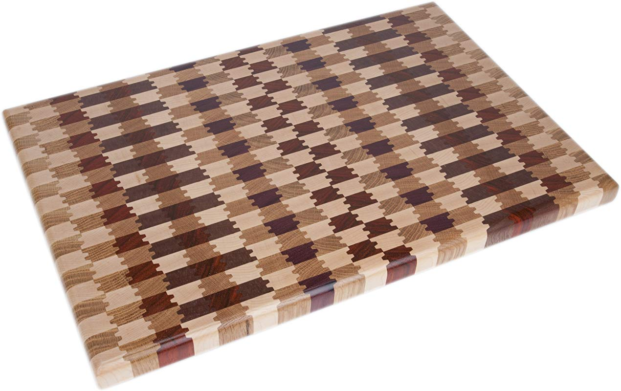 Exotic End Grain Hardwood Cutting Board With Feet 20 By 13 Inch
