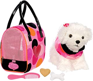 Pucci Pups by Battat – Bichon Frisé Stuffed Puppy with Colorful Polka Dot Stuffed Animal Bag and Pet Accessories