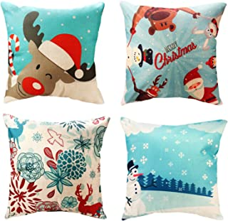WEYON Throw Pillow Covers 4 Pack Print Snowman,Xmas Deer,Santa Claus,Merry Christmas Home Decorative Accent Pillow Cases 18 x 18 Inch, Cotton Linen