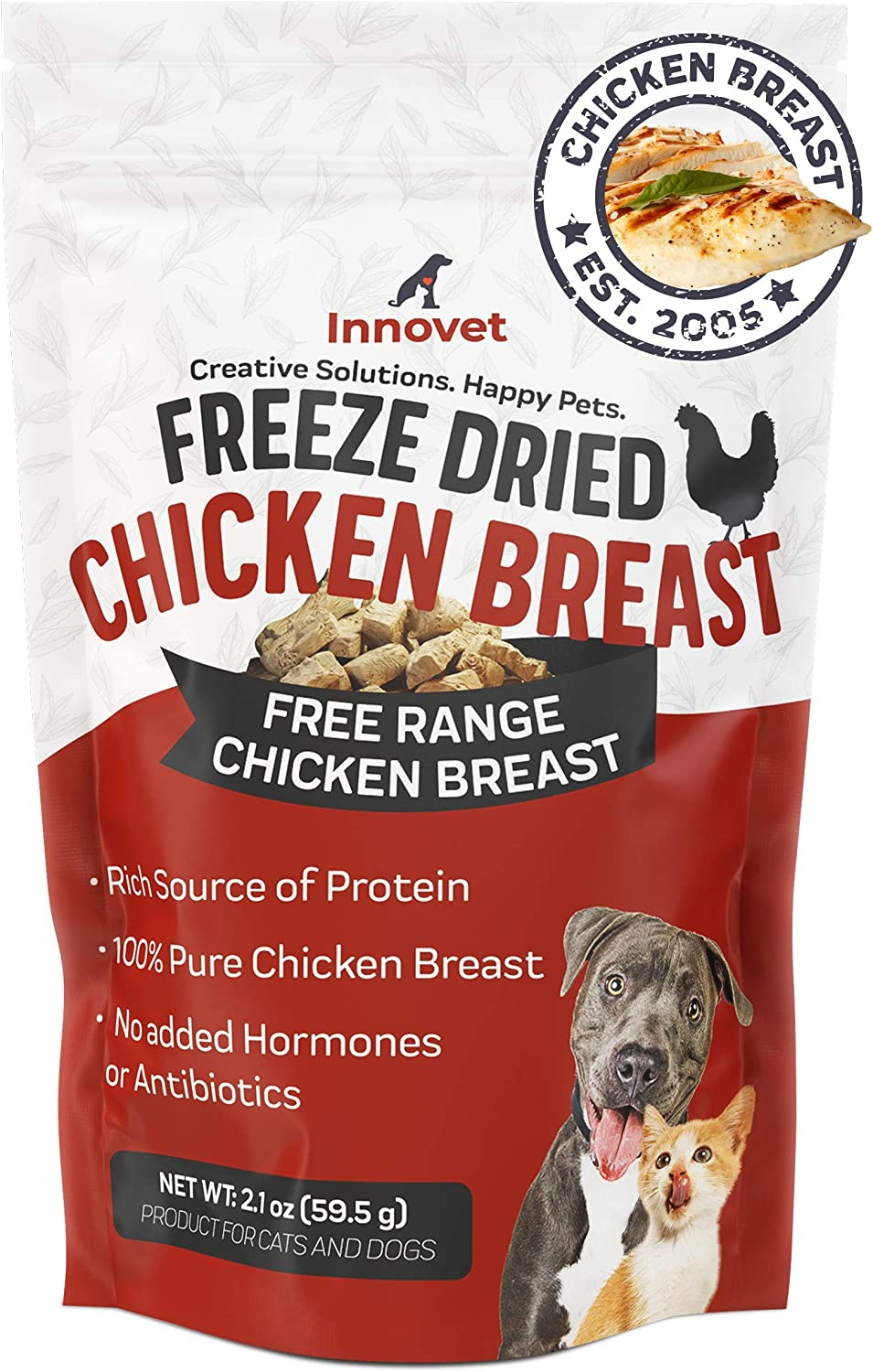 Innovet Pet Freeze Dried Treats - Chicken Breast - 3 Calories per Treat, Protein for Dogs, Freeze Dried Chicken, Training Treats for Dogs - Made in USA