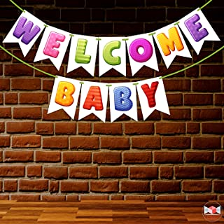 Wobbox Baby Shower Bunting Banner Multi Colour Welcome Baby, Welcome Banner for Decoration, Baby Shower Banner for Decoration