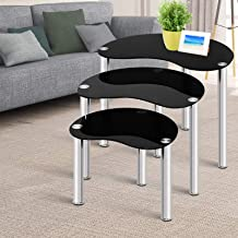 Artiss 3 Pieces Nest of Tables, Tempered Glass Stainless Steel Coffee Table, Black
