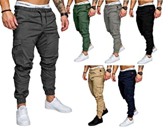WENROU Mens Athletic Gym Fitness Jogger Pants Workout Sweatpants Casual Trousers with Cargo Pockets