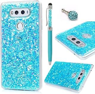 Badalink LG V20 Case Shiny Glitter Sparkle Powder Series Shockproof Drop Protection Soft TPU Flexible Rubber Protective Bumper Sratchproof Slim-Fit Colorful Cover for LG V20 - Blue
