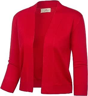 Women's 3/4 Sleeve Cardigan Knit Sweaters Cropped Open Front Shrug Bolero