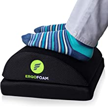 ErgoFoam Adjustable Foot Rest for Added Height (Mesh) | Orthopedic Teardrop Design | Large Premium Under Desk Foot Rest | ...