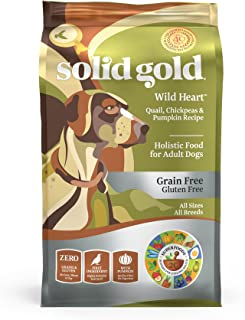 Solid Gold - Wild Heart - Natural Quail, Chickpea & Pumpkin - Grain-free & Gluten-free - Fiber Rich with Probiotics - Holistic Food For Adult Dogs