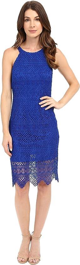 Salem Stripe Lace Cutaway Short Dress with Scalloped Hem