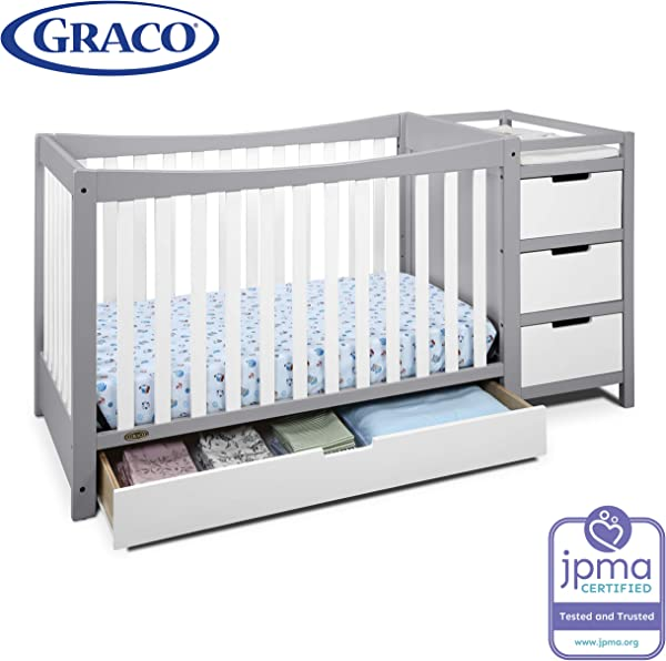 Graco Remi 4 In 1 Convertible Crib And Changer Pebble Gray White Easily Converts To Toddler Bed Day Bed Or Full Bed Three Position Adjustable Height Mattress Assembly Req Mattress Not Included