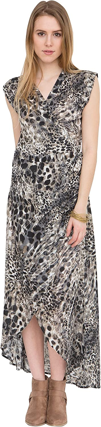 Likemary Maxi Wrap Dress in Leopard Print