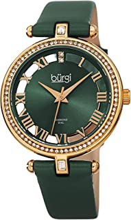 Burgi Swarovski Crystal Studded Watch - 2 Genuine Diamond Markers, See Through and Sunray Dial, Satin Over Leather Women's Watch –Japanese Quartz - BUR228