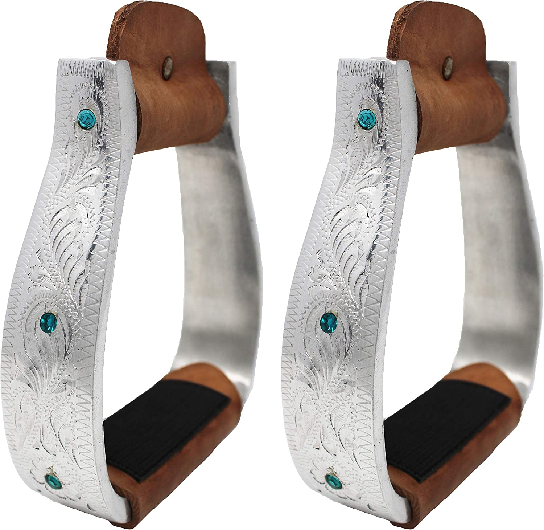 Arlington Mall discount Challenger Western Saddle Engraved Trail Stirrups Riding w Turqu