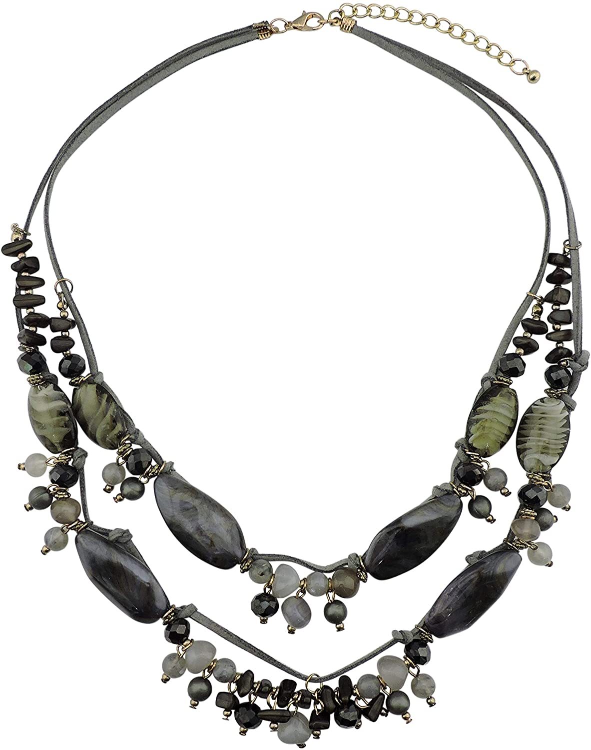 BOCAR 2 Layer Statement Pendant Necklace Strand Beaded 22.5