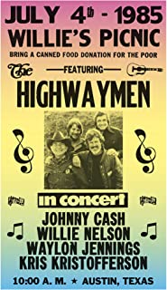 "Per Diem Printing The Highwaymen - Willie Nelson - Waylon Jennings - Johnny Cash - Kris Kristofferson - 13""x22"" Vintage Style Showprint Poster - Home Nostalgia Decor – Wall Art Print - Concert Bill"