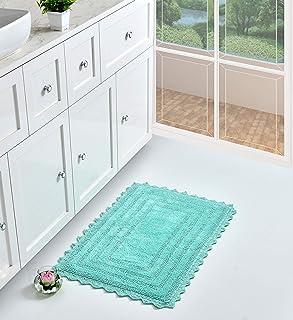 UMI by Amazon 100% algodón de tacto lujoso y reversible alfombra de baño extra absorbente y suave colocar delante de la...