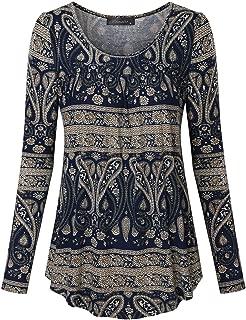 Vinmatto Women's Long Sleeve Scoop Neck Pleated Tunic Shirt
