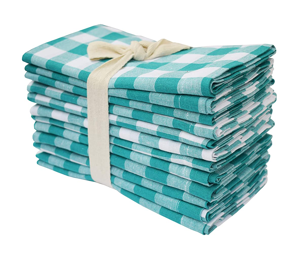 Wedding Napkins In Plaid Check Fabric-18x18 Teal Cloth Napkins,100% cotton napkins,Cocktails Napkins,Fabric Napkins,Mitered Corners & Generous Hem, Machine Washable Dinner Napkins Set of 12