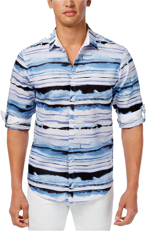 INC International Concepts Men's Distorted Wave Print Shirt Blue Combo