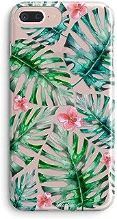 iPhone 8 Plus/iPhone 7 Plus Case Women,Girls Bahama Leaves Pink Palm Flowers Floral Blooms Trendy Simple Spring Summer Tropical Hawaii Beach Compatible Clear Soft Case for iPhone 7 Plus/iPhone 8 Plus