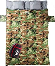 WELLAX Double Sleeping Bag for Camping, Backpacking or Hiking - Perfect Extra Large Sleeping Sack for Couples- Cozy and Warm 3 Season Waterproof Sleeping Bag for 2 Person Adults