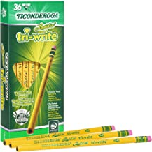 Ticonderoga Laddie Tri-Write Pencils, Wood-Cased #2 HB Soft, Intermediate Size Triangular with Eraser, Yellow, 36-Pack (13...