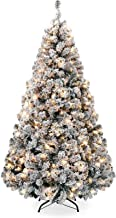 Artificial Christmas Tree, Pre-lit Snow/Flocked Artificial Christmas Tree, Premium Hinged Pine Tree w/Warmer LEDs for Indo...