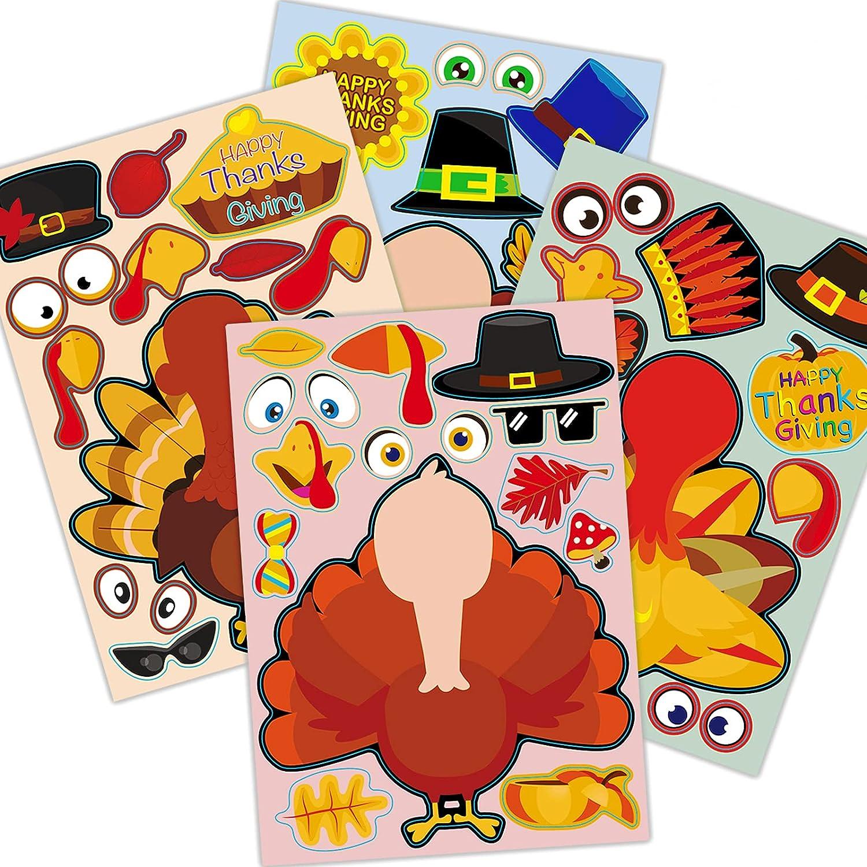 Thanksgiving Party Turkey Stickers for Kids, 32PCS Thanksgiving Party Games for Toddlers Make A Turkey Stickers,Kids DIY Turkey face Sticker Fall Party Refrigerator Window Home Decor Sticker
