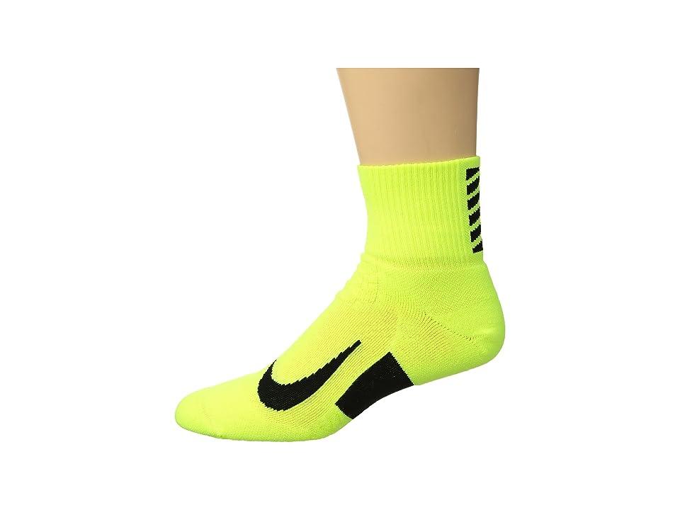 Nike Elite Cushion Quarter Running Socks (Volt/Black/Black) Quarter Length Socks Shoes