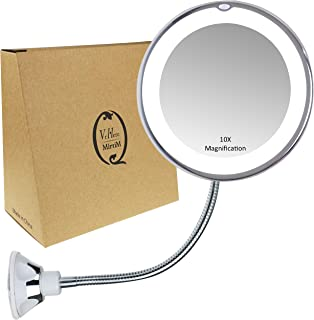 Gooseneck Magnifying Mirror with light, 10X Magnification, Bathroom Vanity Mirror, Compact Travel Mirror with Strong Suction Cup