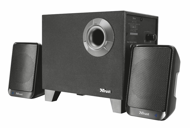 Trust Evon 2.1 PC 蓝牙扬声器系统,带低音炮,适用于电脑、笔记本电脑、平板电脑和智能手机,30 瓦,英国插头