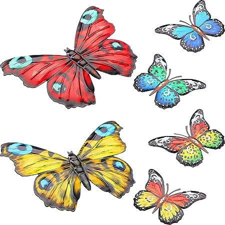 6 Pièces Décor d'Art Mural Papillon en Métal Décoration Murale à Suspendre Papillon Papillon Mural Inspirant Sculptures Colorées de Mur de Jardin pour Chambre Salon Intérieur Extérieur