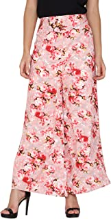 Fraulein Women's/Girls Palazzos Pink Floral Printed Soft Crepe Flared Bottom Trendy and Stylish Palazzos with One Pocket a...