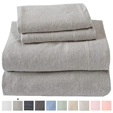 Jersey Knit Sheets. All Season, Soft, Cozy Queen Jersey Sheets. T-Shirt Sheets. Jersey Cotton Sheets. Heather Cotton Jersey Bed Sheet Set. (Queen, Light Grey)