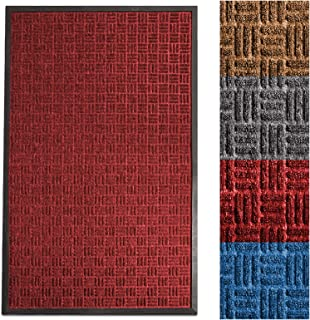casa pura Entrance Mat | Embossed Front Door Mat | Indoor and Outdoor Entry Rug | Red | 24