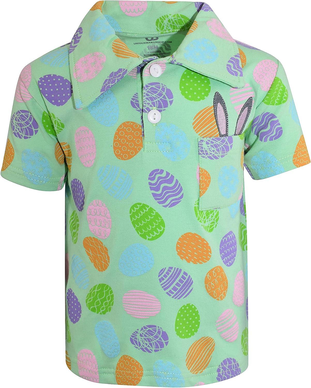 Unique Baby Boys Easter Egg Bunny Hunt Short Sleeve Polo Shirt