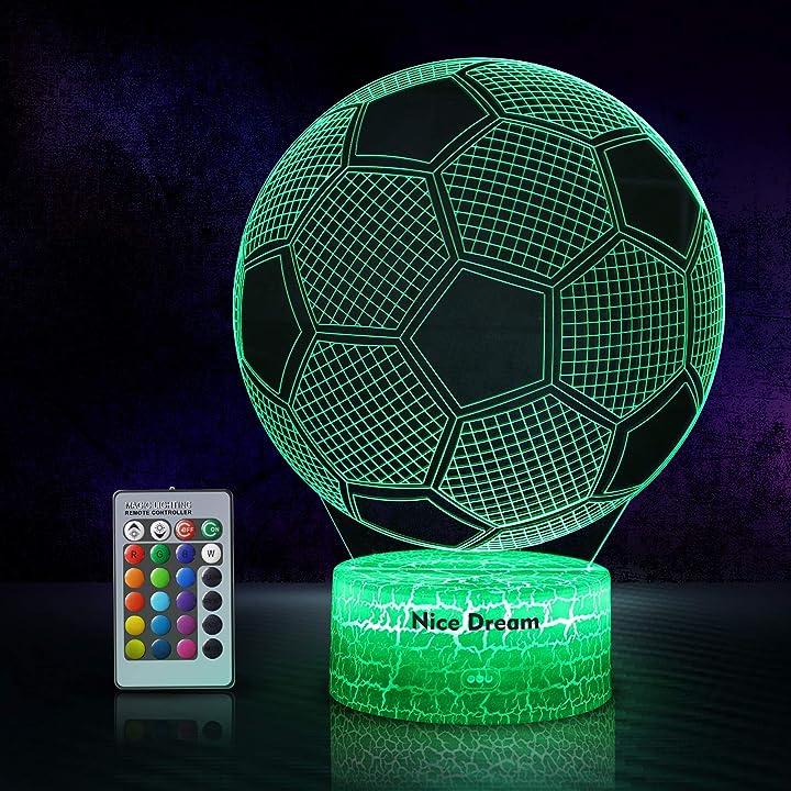 Lampada 3d calcio a led  illuminazione luce di notte, 16 colori controllo tattile  - nice dream B083K35RK9