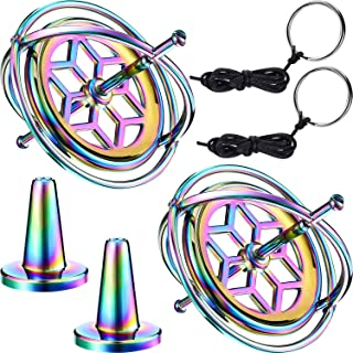 meekoo 2 Packs Metal Anti-Gravity Gyroscope Colorful Spinning Top Gyroscope Balance Toy Educational Gift
