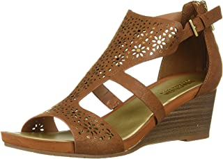 Kenneth Cole REACTION Women's Roll T-Strap Wedge Sandal, Tan, 6.5 M US