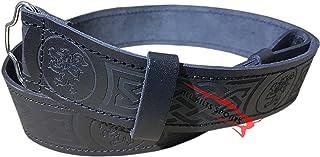 Scottish Highlander Black Leather Rampant Lion Kilt Belt