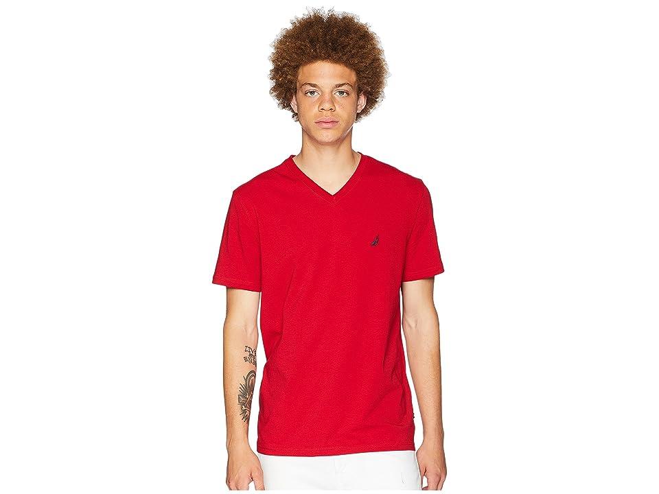 Nautica Slim Fit V-Neck T-Shirt (Nautica Red) Men