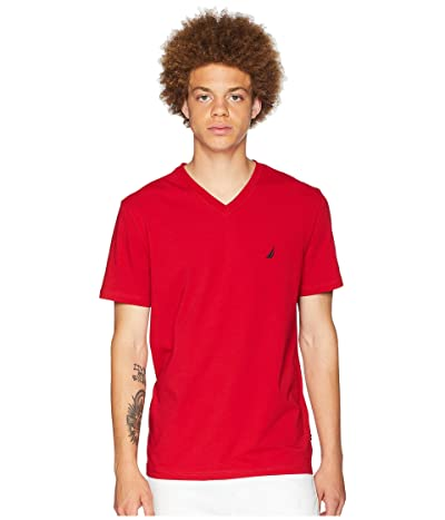 Nautica Slim Fit V-Neck T-Shirt (Nautica Red) Men