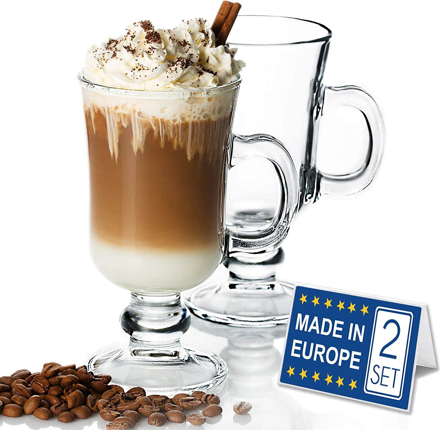 Irish Glass Coffee Mugs Sale SALE% OFF Latte Cups and Set of 2 Challenge the lowest price of Japan ☆ Hot Cappuccino