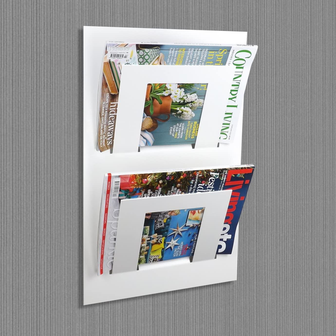 Fixation murale /à deux /étages Magazine Journal de stockage Rack en le m/étal Maison