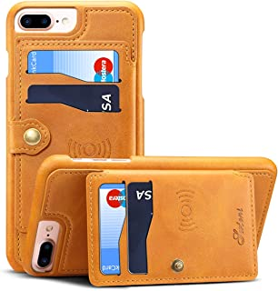 Cover Case for iPhone 7Plus 8P 6+ 5.5 inches 2018 Apple,Wallet Khaki Leather ID Credit Card Slot Slim Shell