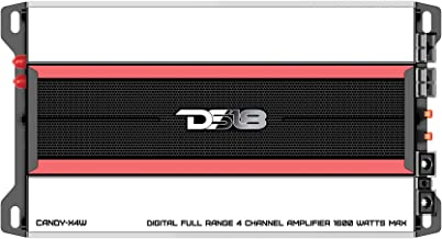 DS18 CANDY-X4W Amplifier in Black - Class D, 4 Channels, 1600 Watts Max, Digital, 2/4 Ohm - Don't Sacrifice Space for Power - Compact Mini Ampflier for Speakers in Car Audio System