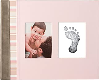 Pearhead Pink Suede Binding Baby Memory Book with Clean-Touch Ink Pad Included, Pink - A Perfect Baby Shower Gift